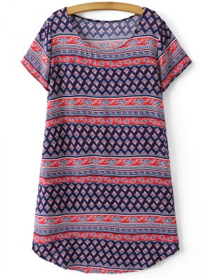 Retro Print Short Sleeve Round Neck Dress