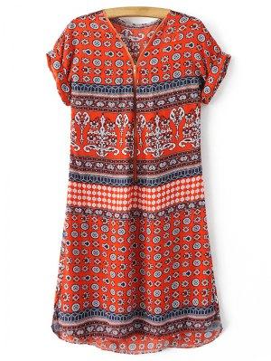 V-Neck Print Short Sleeve Dress - Jacinth