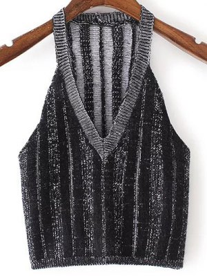 Pure Color Plunging Neck Knit Tank Top - Black