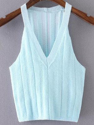 Pure Color Plunging Neck Knit Tank Top - Azure