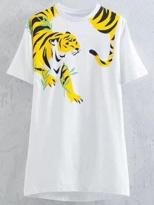 Tiger Print Round Neck Short Sleeve T-Shirt - White