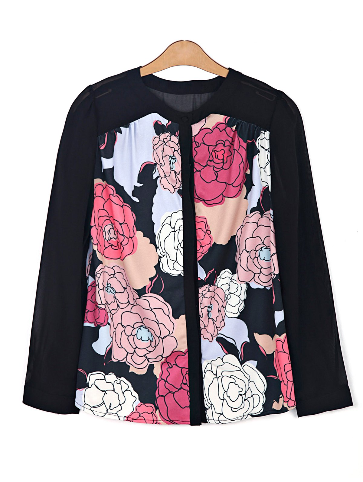 Floral Print Chiffon Spliced Shirt