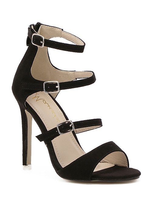 Stiletto Heel Buckles Black Sandals