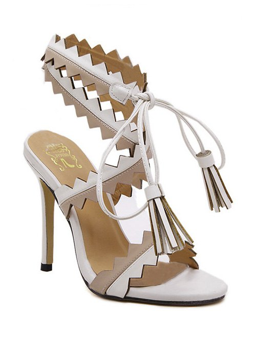 Sawtooth Tassel Stiletto Heel Sandals