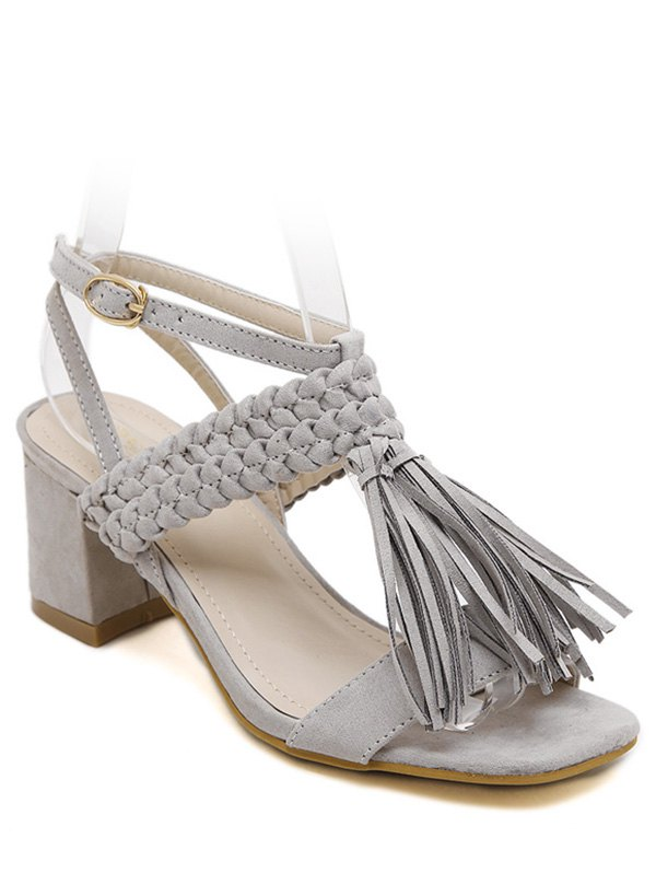 Tassels Weaving Chunky Heel Sandals
