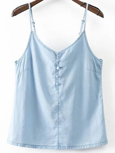 Spaghetti Straps Solid Color Chambray Tank Top