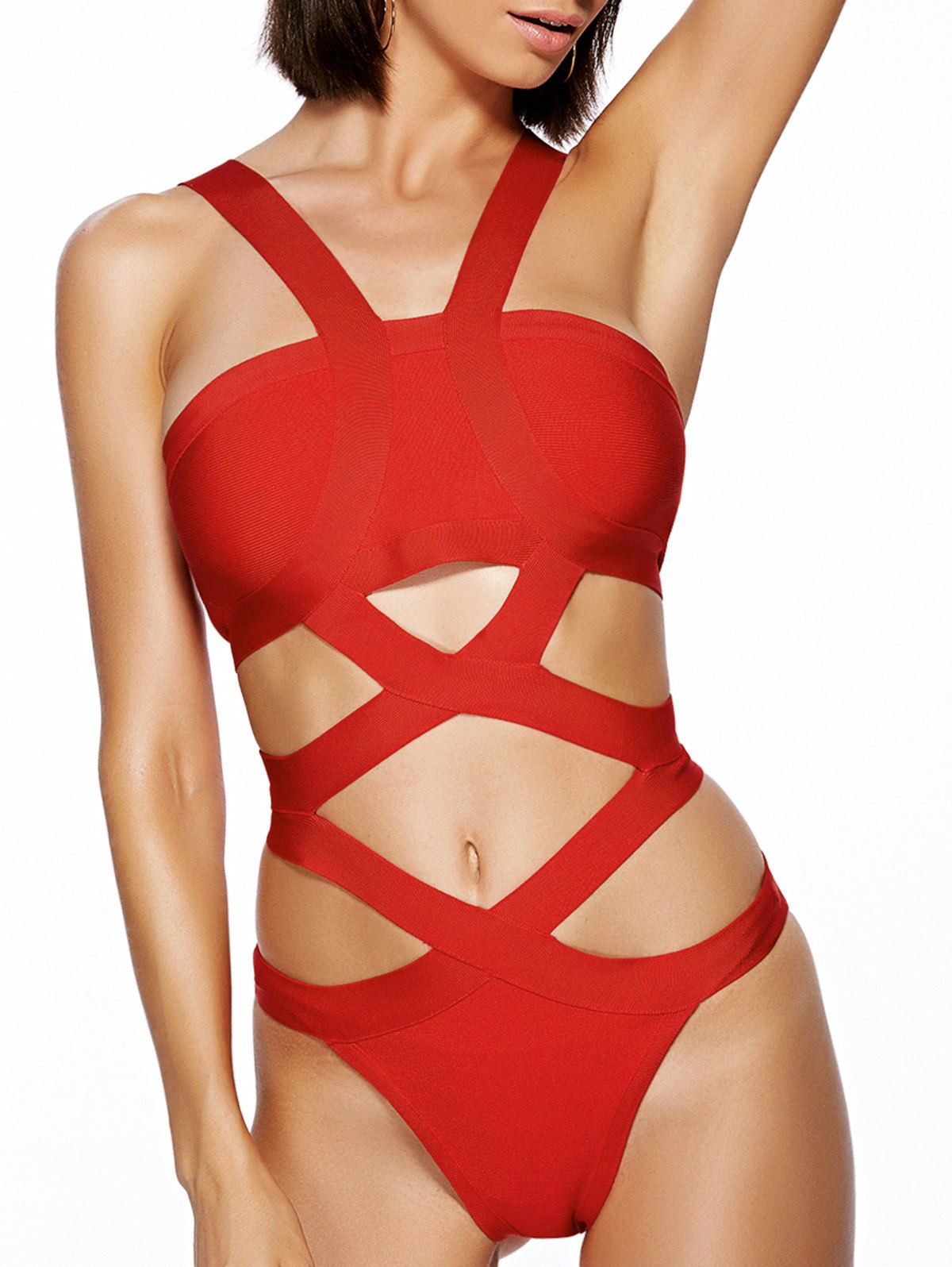 Straps Solid Color Cut Out One-Piece Swimwear