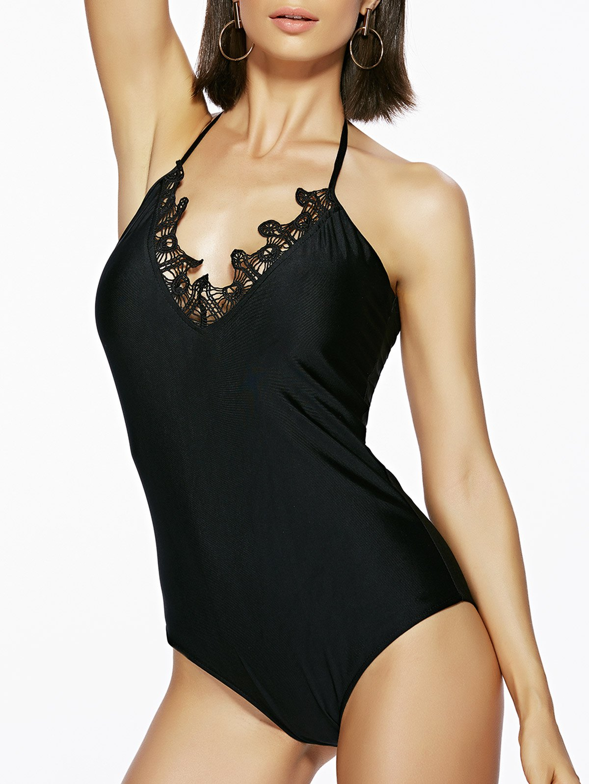 Lace Trim Halterneck One-Piece Swimwear