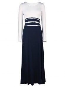 White and Black Long Sleeve Maxi Dress