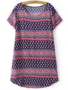 Retro Print Short Sleeve Round Neck Dress