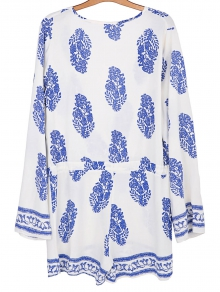 Printed Drawstring Design Playsuit - WHITE S