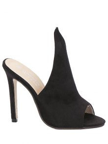 Stiletto Heel Suede Peep Toe Slippers