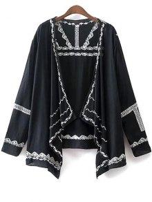 Long Sleeve Embroidery Kimono Blouse