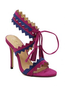 Color Block Sawtooth Stiletto Heel Sandals - Rose Madder