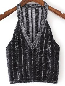 Pure Color Plunging Neck Knit Tank Top
