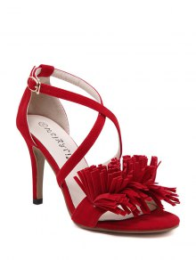 Fringe Cross-Strap Stiletto Heel Sandals - Red