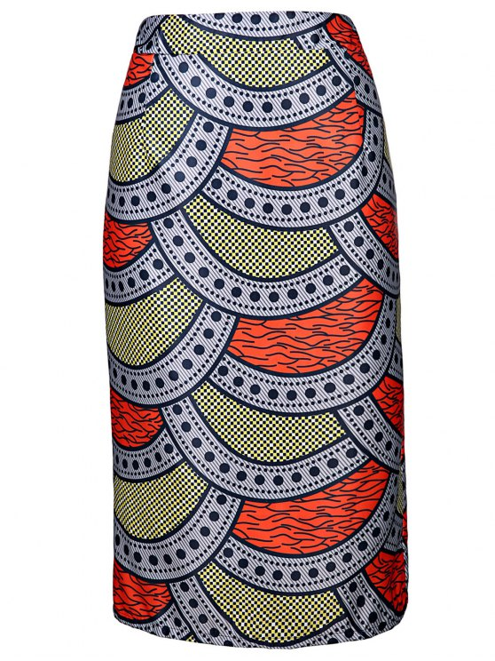 High-Waisted Printed Pencil Skirt - Colormix XL