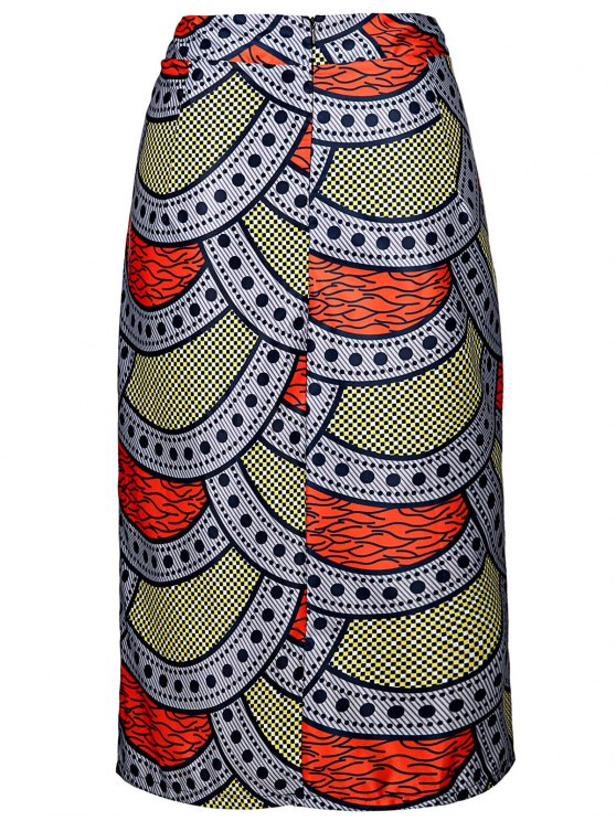 High-Waisted Printed Pencil Skirt - COLORMIX L Mobile