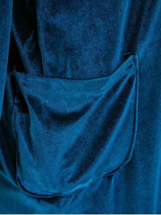 Loose Velvet Shirt Dress - CADETBLUE M Mobile