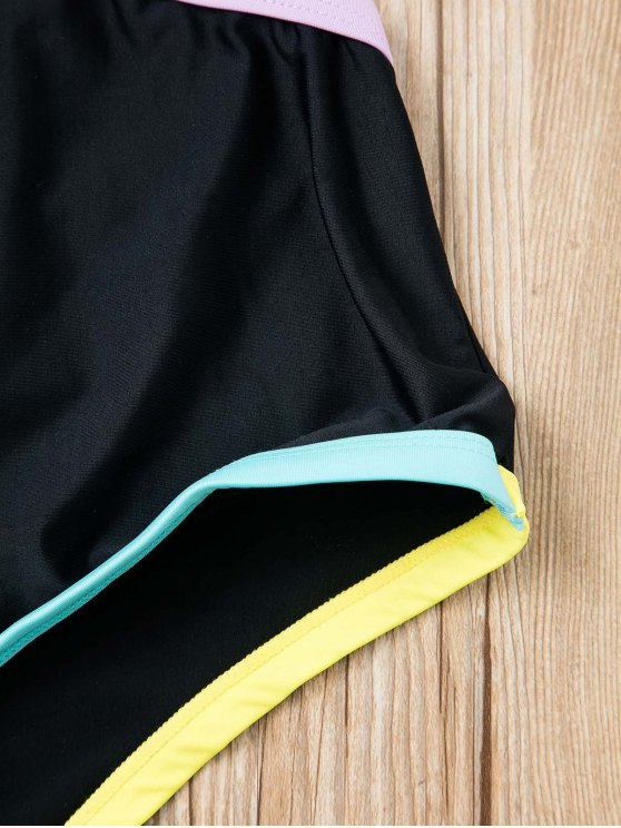 Piped Cutout One-Piece Swimwear - BLACK M Mobile