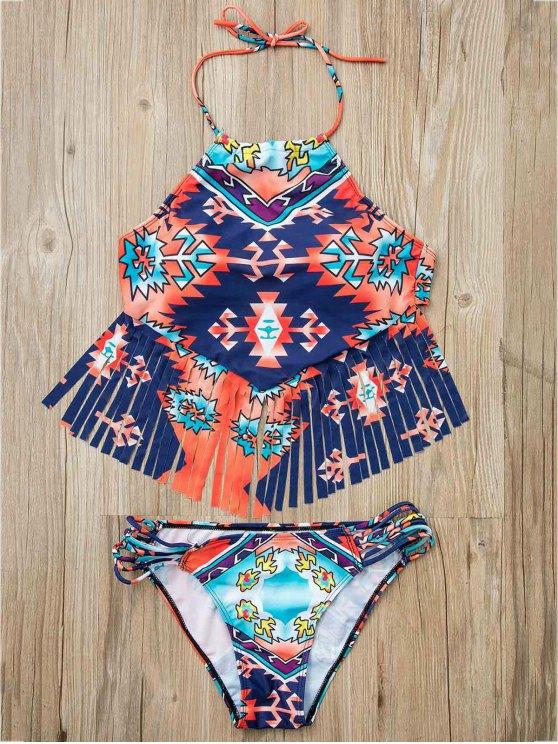 Fringed coloridos traje de baño de dos piezas - Colormix L