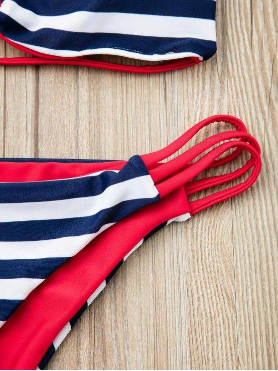 Stripes Bandeau Bikini Set - RED L Mobile