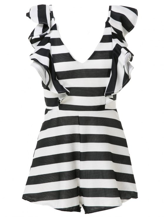 shops Sleeveless Striped Flouncing Playsuit - WHITE AND BLACK M