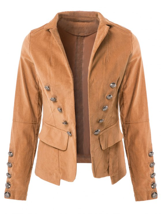 buy Lapel Structured Washed Solid Colour Blazer - LIGHT COFFEE S