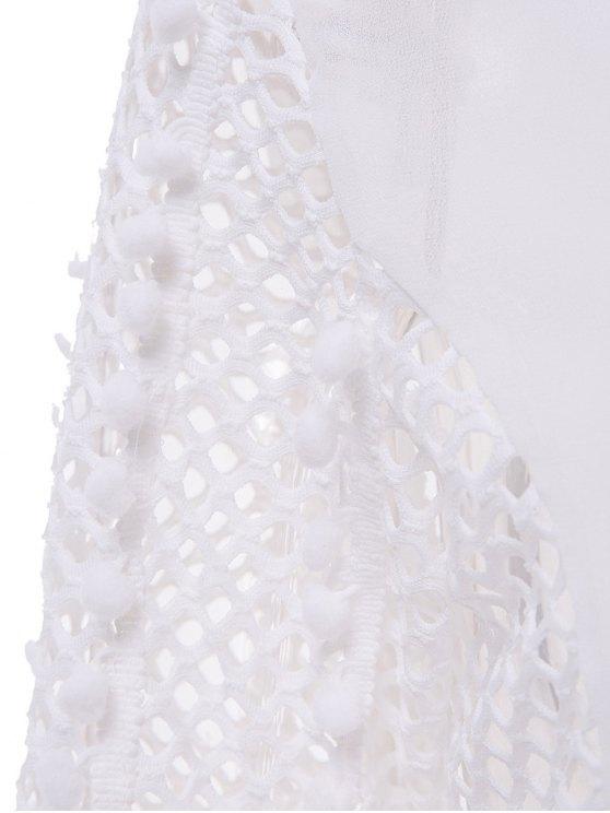 White Chiffon Eyelets Blouse - WHITE L Mobile