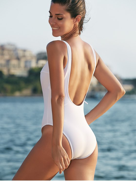 Tie-Up Low Cut One-Piece Swimwear - WHITE XL Mobile