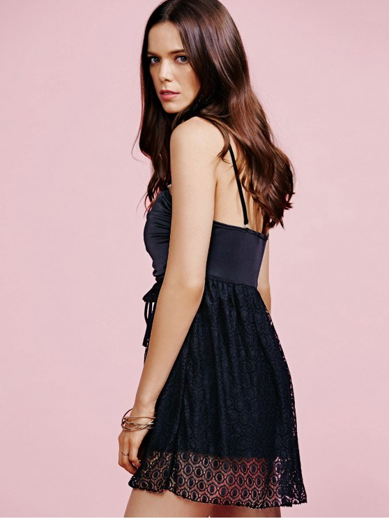 Black Lace Splice Party Wear Dress For Women - BLACK L Mobile