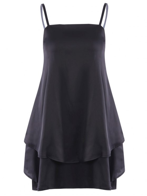 trendy Layered Flounced Chiffon Swing Dress - BLACK M