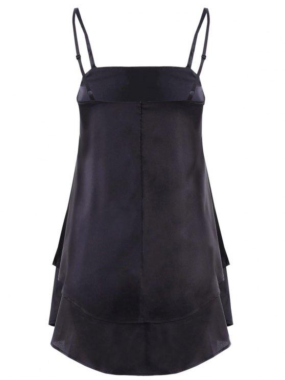 Layered Flounced Chiffon Swing Dress - BLACK XL Mobile