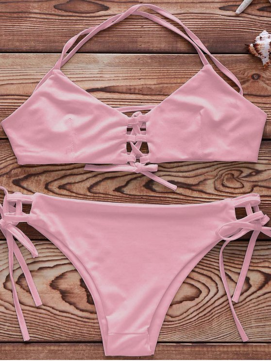 outfit Cami String Lace Up Bathing Suit - PINK XL