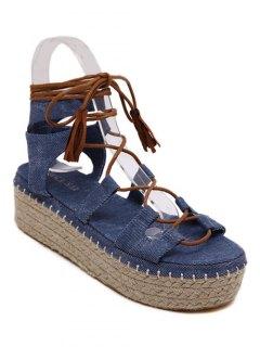 Platform Denim Lace-Up Sandals - Blue 36