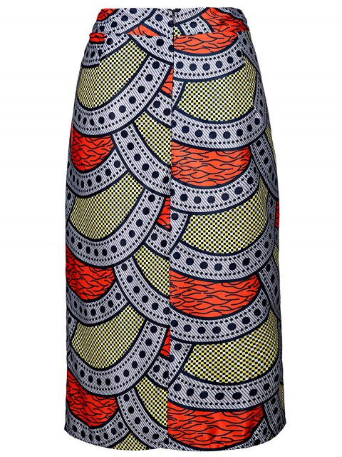 latest High-Waisted Printed Pencil Skirt - COLORMIX XL Mobile