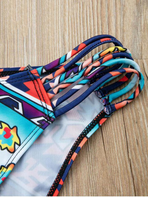 outfit Fringed Colorful Two Piece Swimsuit - COLORMIX L Mobile