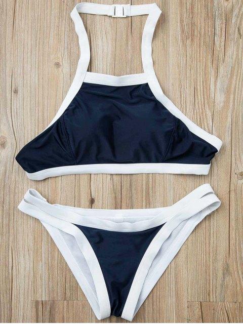 chic Hit Color Halterneck Bikini Set - BLUE M Mobile