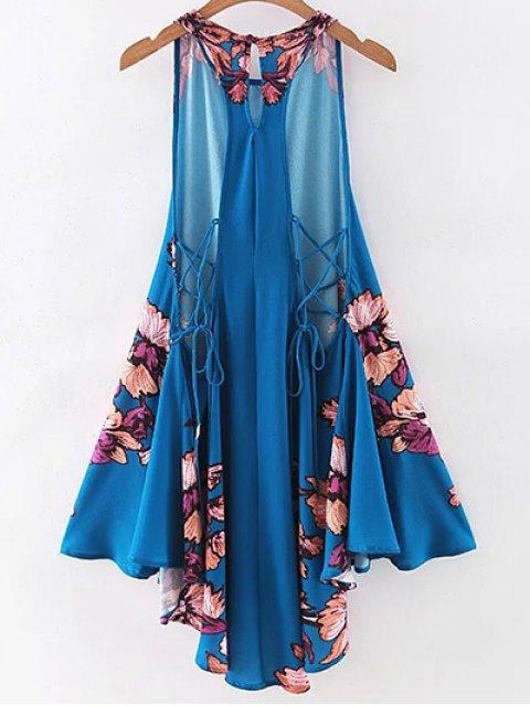 outfits Floral Print Round Neck A Line Sundress - PURPLISH BLUE S Mobile