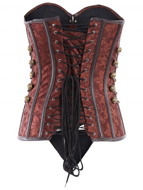 hot Alloy Chain Steampunk Lace Up Corset - BROWN XL Mobile
