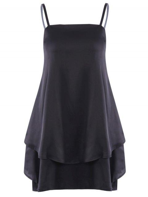 affordable Layered Flounced Chiffon Swing Dress - BLACK 2XL Mobile