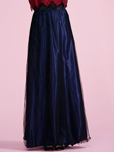 Voile Deep Blue A Line Skirt - Deep Blue