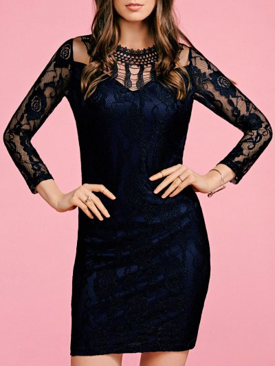 Black Lace Round Neck 3/4 Sleeve Bodycon Dress - Black