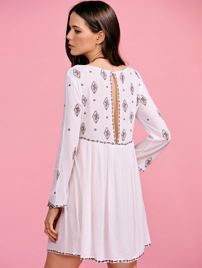 Ethnic Embroidery Plunging Neck Long Sleeve Dress от Zaful.com INT