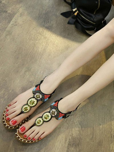 Flat Heel Tribal Pattern Beading Sandals от Zaful.com INT