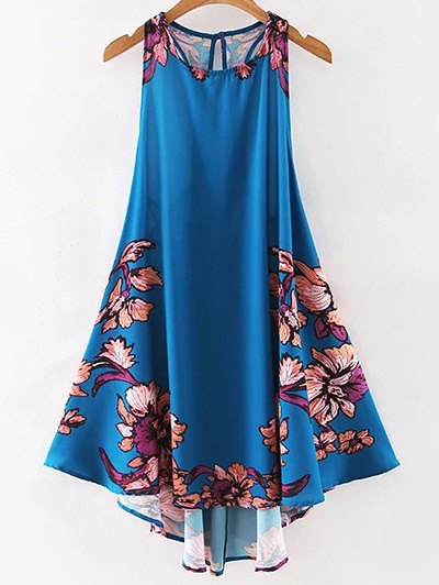 Floral Print Round Neck A Line Sundress - Purplish Blue