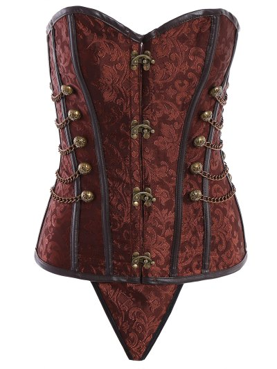 Alloy Chain Steampunk Lace Up Corset - BROWN 6XL Mobile