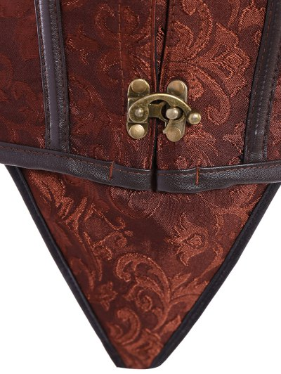 Alloy Chain Steampunk Lace Up Corset - BROWN XL Mobile