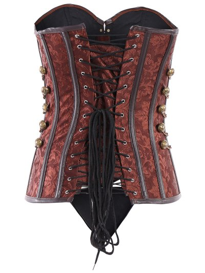 Alloy Chain Steampunk Lace Up Corset - BROWN L Mobile