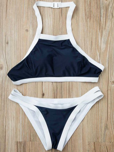 Hit Color Halterneck Bikini Set - Azul